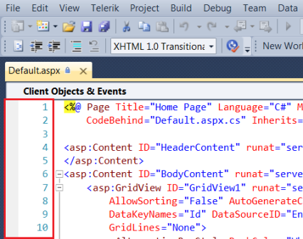 View line numbers in Visual Studio